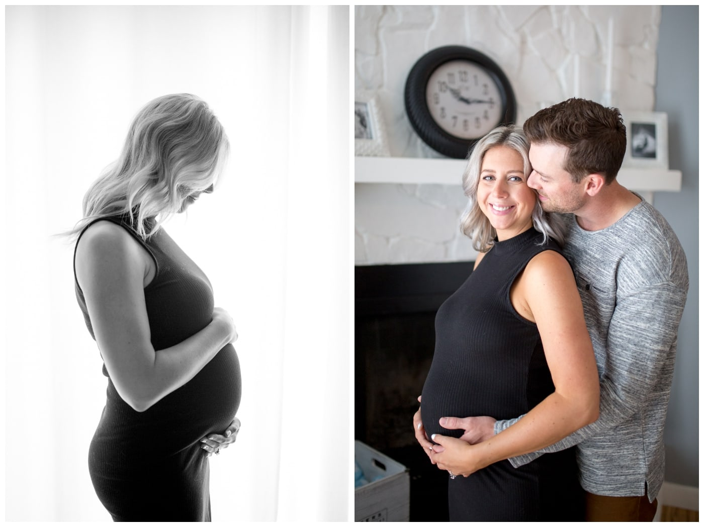 A pregnant mother stands backlit against a window in the black tank top, and a maternity shoot of a husband and wife in front of a white fireplace