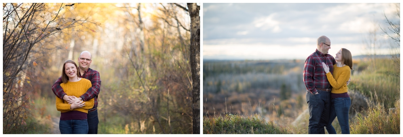 An engagement session with the couple surrounded by fall foliage