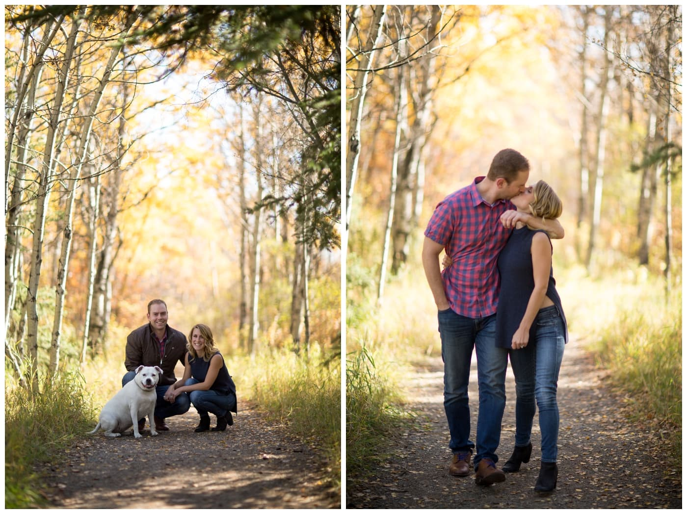 A couple pose with their dog and kiss amongst brilliant yellow fall foliage