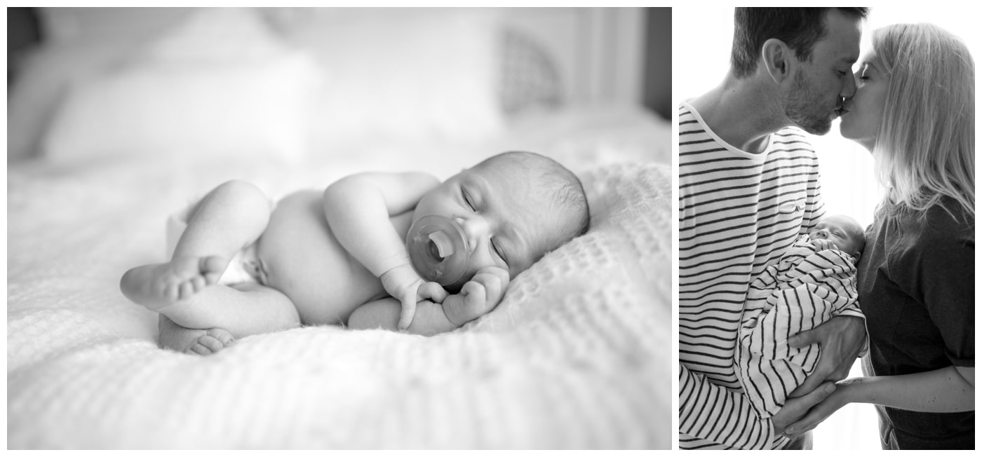 Balck and white images of a sleeping newborn baby and his parents kissing while he is wrapped in their arms