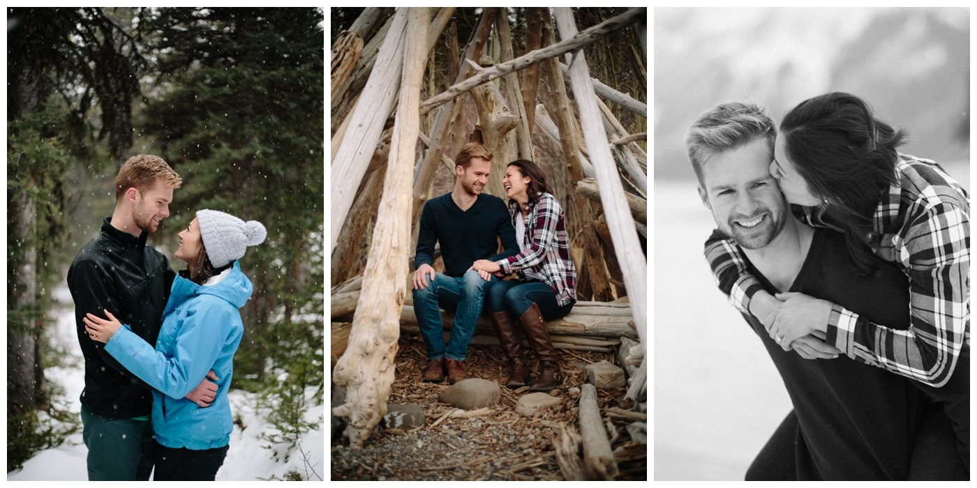 An engagement session with snow, hiking, teepees, adventure, and lots of laughing